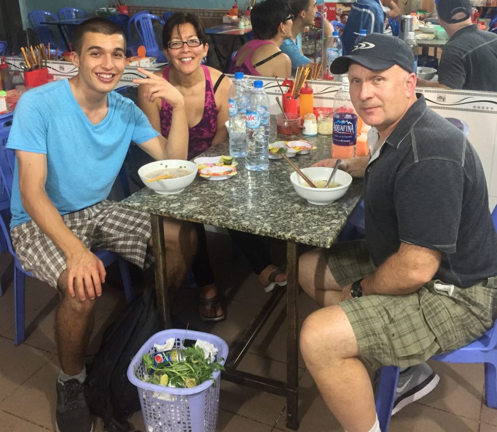 pho with parents in Vietnam